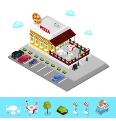 Isometric Pizzeria Restaurant with Parking Zone vector image vector image