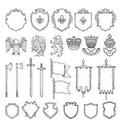 medieval heraldic symbols isolate on white vector image
