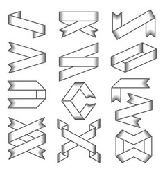 set of empty emblems ribbons design elements for vector image vector image