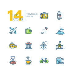 traveling - thick line icons set vector image vector image