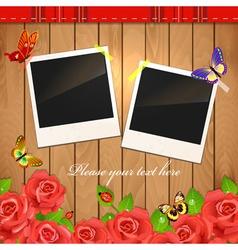wooden frame rose vector image
