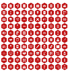 100 company icons hexagon red vector