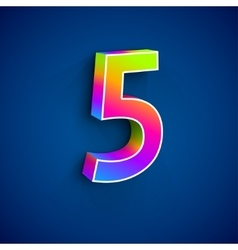 3d Number Five vector