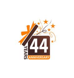 44 years gift box ribbon anniversary vector image