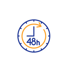 48 hours line icon delivery service sign vector