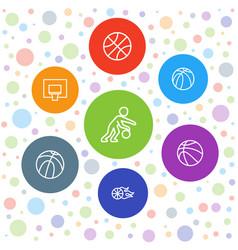 7 basketball icons vector