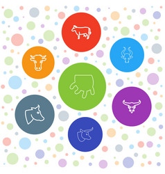 7 cow icons vector