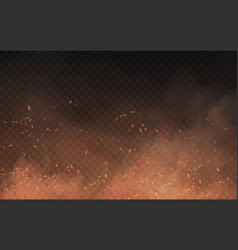 Abstract brown background smoke and sparks vector
