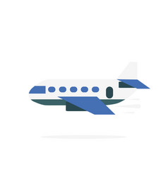 airplane icon in flat design plane with shadow vector image
