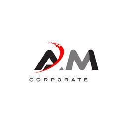 Am modern letter logo design with swoosh vector