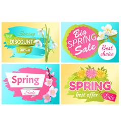 Best offer spring sale advertisement labels vector