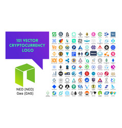 big set colorful cryptocurrency logo vector image