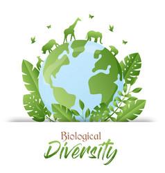 Biological diversity green animal planet card vector