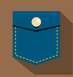 Blue jeans pocket with button icon flat style vector