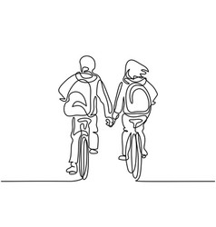 Boy and girl bicycling to school vector