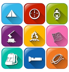 Buttons with the different camping materials vector