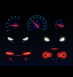 car headlights and dashboard scales set vector image