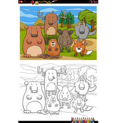cartoon funny wild animals group coloring book vector image