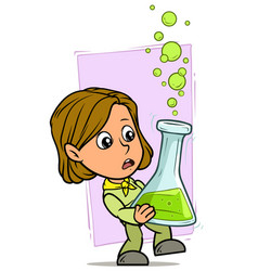 cartoon girl character with big chemical flask vector image