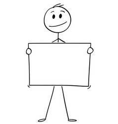 cartoon of man or businessman holding empty or vector image