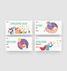 characters spread knowledge and ideas landing page vector image