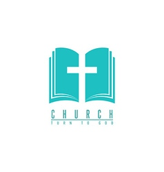 Church logo cross and abstract bible religion vector image
