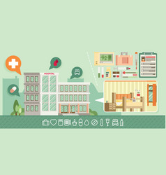 city hospital building in flat style icon set vector image