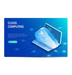 cloud computing isometric concept laptop on the vector image