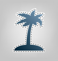 coconut palm tree sign blue icon with vector image