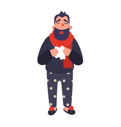 cold man in a rug holds a cup sick young person vector image
