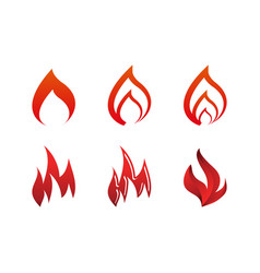 collection of fire logo icon template vector image