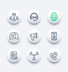 communication media and social line icons vector image