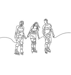 continuous one line drawing group friends vector image