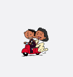 Couple of newlyweds riding a red motorcycle happy vector