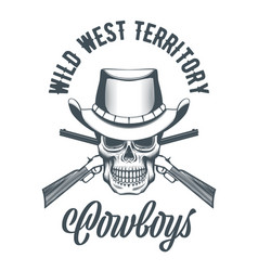 cowboy skull in hat and crossed rifles vector image