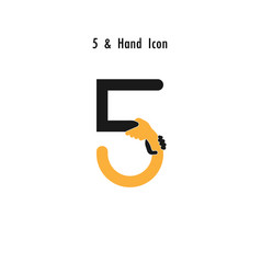 Creative 5- number icon abstract and hands icon vector
