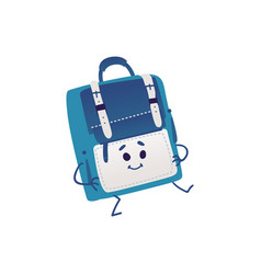 cute backpack cartoon character dancing isolated vector image