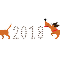 Cute cartoon dachshund dog following tail and vector