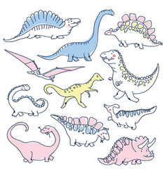 cute dinosaurs doodles set vector image