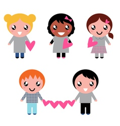 cute kids collection vector image vector image