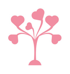 cute tree leaves shape heart vector image