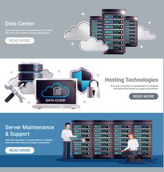 Datacenter horizontal banner set vector