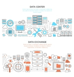 Datacenter Horizontal Linear Banners vector image