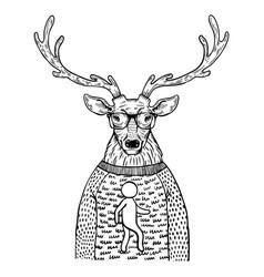 Deer in sweater engraving vector