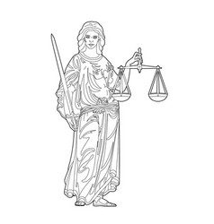 Drawing a justice symbol vector