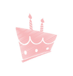 Drawing pink birthday cake sweet vector