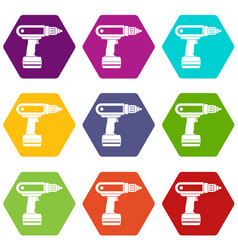Electric screwdriver drill icon set color vector