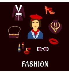Fashion icons with accessories and jewelries vector