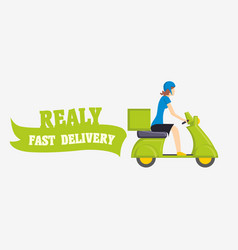 fast delivery with girl on vector image