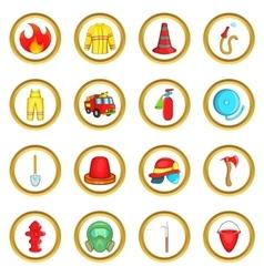 Fireman set cartoon style vector image